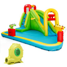 Outdoor Inflatable Splash Water Bounce House Jump Slide w/480W Blower Kids Gift