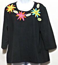 Karen Arnold Ladies Black with Multicolor Applique Floral Shirt - Size 1X
