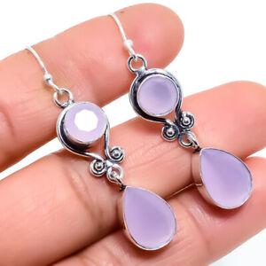 "Rose Quartz Gemstone Ethnic Handmade Silver Jewelry Earring 2.0"" ERJ455"