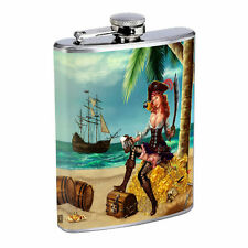Vintage Pirate Ship D12 Flask 8oz Stainless Steel Hip Drinking Whiskey