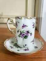 Antique RIchard Klemm RK Dresden VIOLETS porcelain high Tea Cup& Saucer/DBL MARK