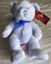 Russ Berrie — Belle Teddy Bear Plush w/ Blue Flower Ribbon Bow w tag Retired