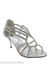 Womens Diamante Evening Bridal Sandals Ladies Mid Heel Ankle Strap Strappy Shoes