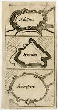 Rare Antique Print-PLAN-HATTEM-WOERDEN-AMERSFOORT-Fridleben-Hoffman-1673