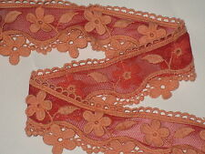"""2 yards in 2 1/2"""" width orange&red color crochet poly cotton&tulle novelty trim"""