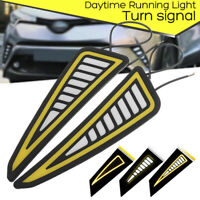 Car LED Bumper Strip COB Daytime Running Light Yellow Turn Signal DayLight EB