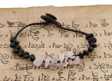 Braccialetto Tibetano Amicizia con Perle di Quarzo Rosa E Nere -BB20757-FS5B