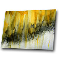 Yellow Black Grey White Abstract Canvas Wall Art Large Picture Prints