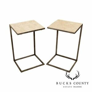 Modern Pair Metal Cantilever Travertine Top Side Tables