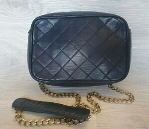 Rare Vintage Authentic CHANEL Quilted CC Crossbody Bag Leather Chain 70's 80's