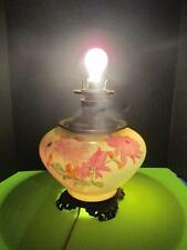 Antique Working 2 Light Brass Glass GWTW Floral Oil / Electric Parlor Table Lamp