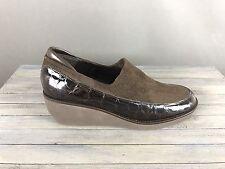 Womens Donald J Pliner Norma Brown Leather Suede Croc Embossed Wedge 7.5 M Spain