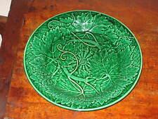 Complexe Wedgwood Green Leaf Vine majolica plaque C1870S 80 S