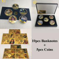 10pcs Japanese Anime Naruto Gold colored banknote Card With 5 pcs Gold Coins box