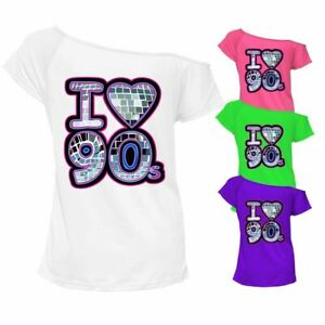 Womens Off Shoulder I Love The 90s Printed T Shirt Retro Outfit Casual Top