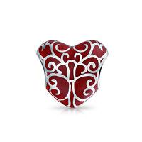 Bling Jewelry Red Enamel Filigree Heart Lock Charm Bead 925 Sterling Silver