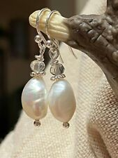 Freshwater Pearl STERLING SILVER Dangle Drop Earrings. Prom. Bridal. Formal. USA