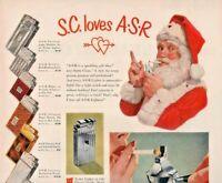 1949 ASR Lighter Vintage Print Ad Christmas Santa Clause Loves ASR