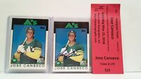 1986 Topps JOSE CANSECO Signed ROOKIE with COA + Matching Rookie set