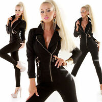 overall tuta donna elast.taglio chiodo zip skinny nero tg XS,S,M,L,XL