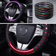 Glossy Purple Leather Car Steering Wheel Cover 38cm Red/Blue/Gold/Green Optional