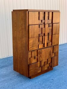 Perfect Mid Century  Modern Brutalist Tallboy  Lane  Stacatto Dresser