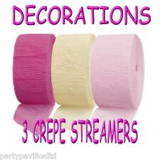 Crepe Streamers Bright Pink Ivory Girls Christening Communion Party Decorations