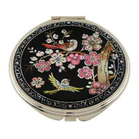 MOP Pink Flower Cosmetic Compact Makeup Double Magnification Beauty Mini Mirror