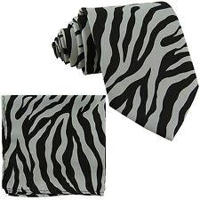New Polyester Zebra Animal Print Formal Party Occasion Necktie & Hankie Gray