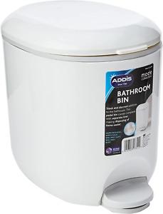 Addis 518503 Premium Deluxe Bathroom Pedal Bin with inner, 3.5 litre, White 29 x
