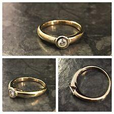 Solitär Brillantring Gelbgold Schiene Weißgold Fassung 585er Gold Ring 0,18ct