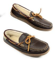 LL Bean Pebbled Leather Moccasin Lined Loafer Slipper Shoes Brown Men's 7M