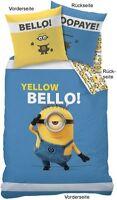 Die Minions Wende Bettwäsche Set 135x200 80x80cm Yellow Bellow Linon 42677