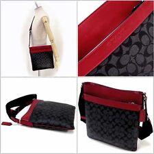 NWT Coach F71877 Mens Bowery Signature PVC Crossbody Bag Black Charcoal Red $295