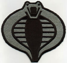 """GI Joe Cobra Commander Officer Large 6"""" Silver/Black Embroidered Iron-On Patch"""