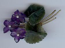 Vintage 14K Or Sculpté Améthyste & Perle Fleurs Nephrite Jade Feuilles Broche
