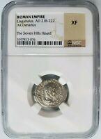 Elagabalus Roman Empire AD 218-222 Silver XF NGC AR Denarius Seven Hills Hoard