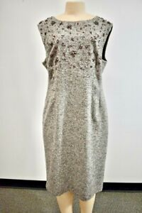 ESCADA Gray Beaded Wool Fancy Evening/Cocktail Dress Size 46 or 16US On Sale jl