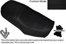 Negro Stitch Custom encaja Suzuki Gn 125 94-01 Cuero Doble cubierta de asiento solamente