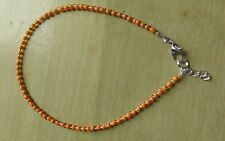 funky orange and gold bead anklet /ankle bracelet hippy boo hoo
