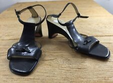 Circa Joan & David Womens Sandals Size 8 Black Leather Heels Shoes Open Toe