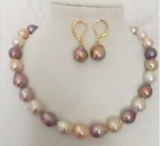 "HUGE 18""15-16mm natural south sea genuine white gold pink purple pearl necklace"