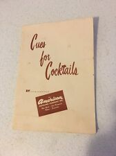 CUE'S FOR COCKTAILS By The American Distilling Company Inc Vintage 1950