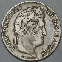 1836-BB France 5 Francs Louis Philippe VF Strasbourg Mint Silver Coin (19111406R