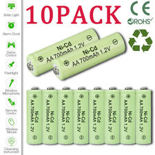 10X AA Rechargeable Batteries NiCd 700mAh 1.2v Garden Solar Ni-Cd Light LED EAS