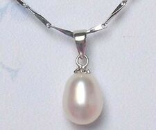 18KGP 925 sterling Silver genuine 9-10mm freshwater pearl pendant (white)