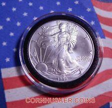 1999 AMERICAN SILVER EAGLE DOLLAR 1 OZ .999 FINE SILVER BU IN AIR-TITE CAPSULE