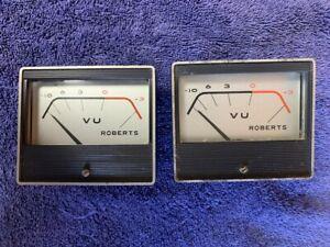 2 Roberts 770X or Akai vintage tube reel to reel tape recorder player VU meters