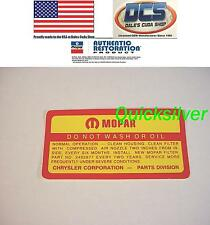 1968 1969 Dodge 383 440 4 bbl Do Not Wash ROUND Air Cleaner Decal NEW USA