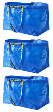Lot of 3 pcs IKEA FRAKTA LARGE Carrier Bag Grocery Laundry Storage Tote Blue